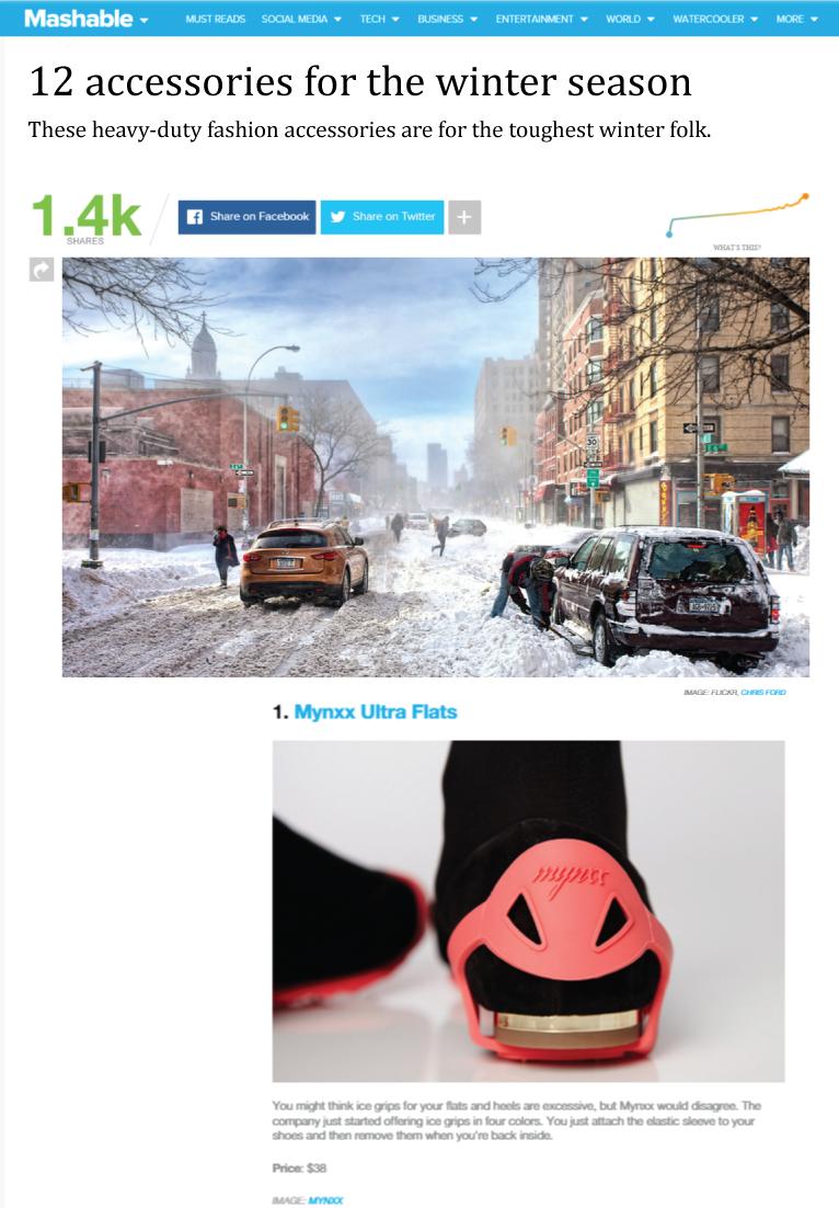 Ranked #1 extreme winter accessory: Mashable.com