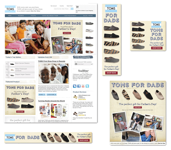 Landing page and web banners for TOMS Shoes Father's Day campaign.