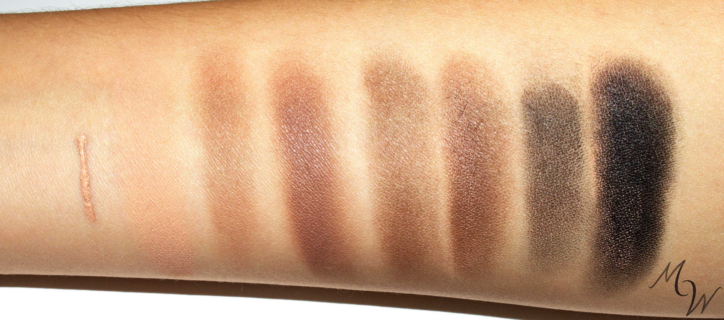 Brightening Eyeshadow Primer and Mineral Eyeshadows in Earth, Espresso, and Night alone and over Primer—with flash.