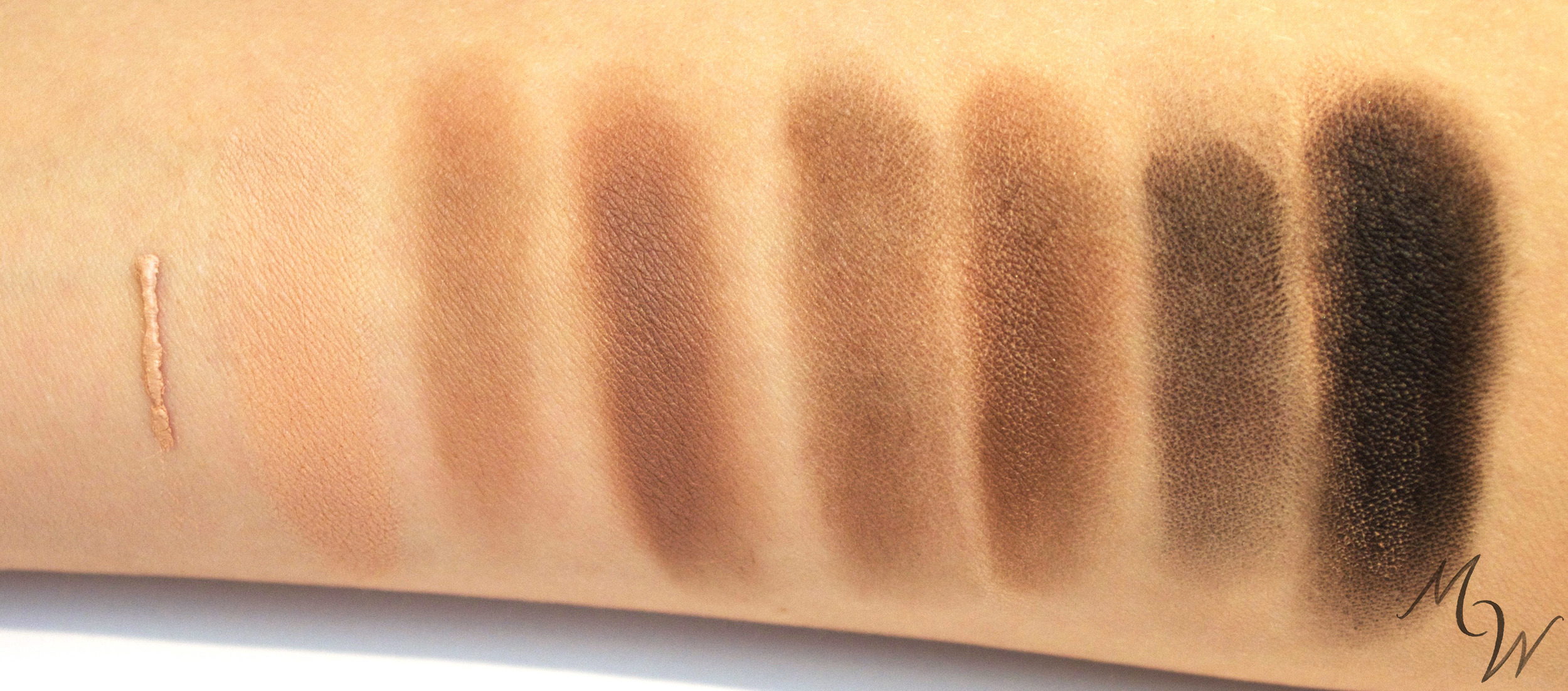 Brightening Eyeshadow Primer and Mineral Eyeshadows in Earth, Espresso, and Night alone and over Primer—no flash.