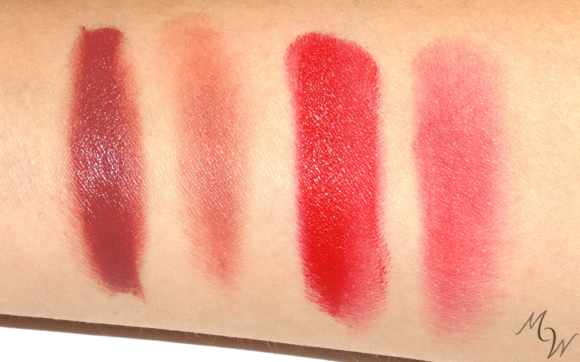 Satin Lipsticks in Mocha and Red, full and sheer.