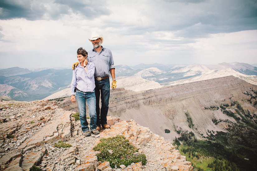 Greg and Deborah Shatz of the Backcountry Horsemen at the Prairie Reef Lookout above the Chinese Wall, Bob Marshall Wilderness, Montana