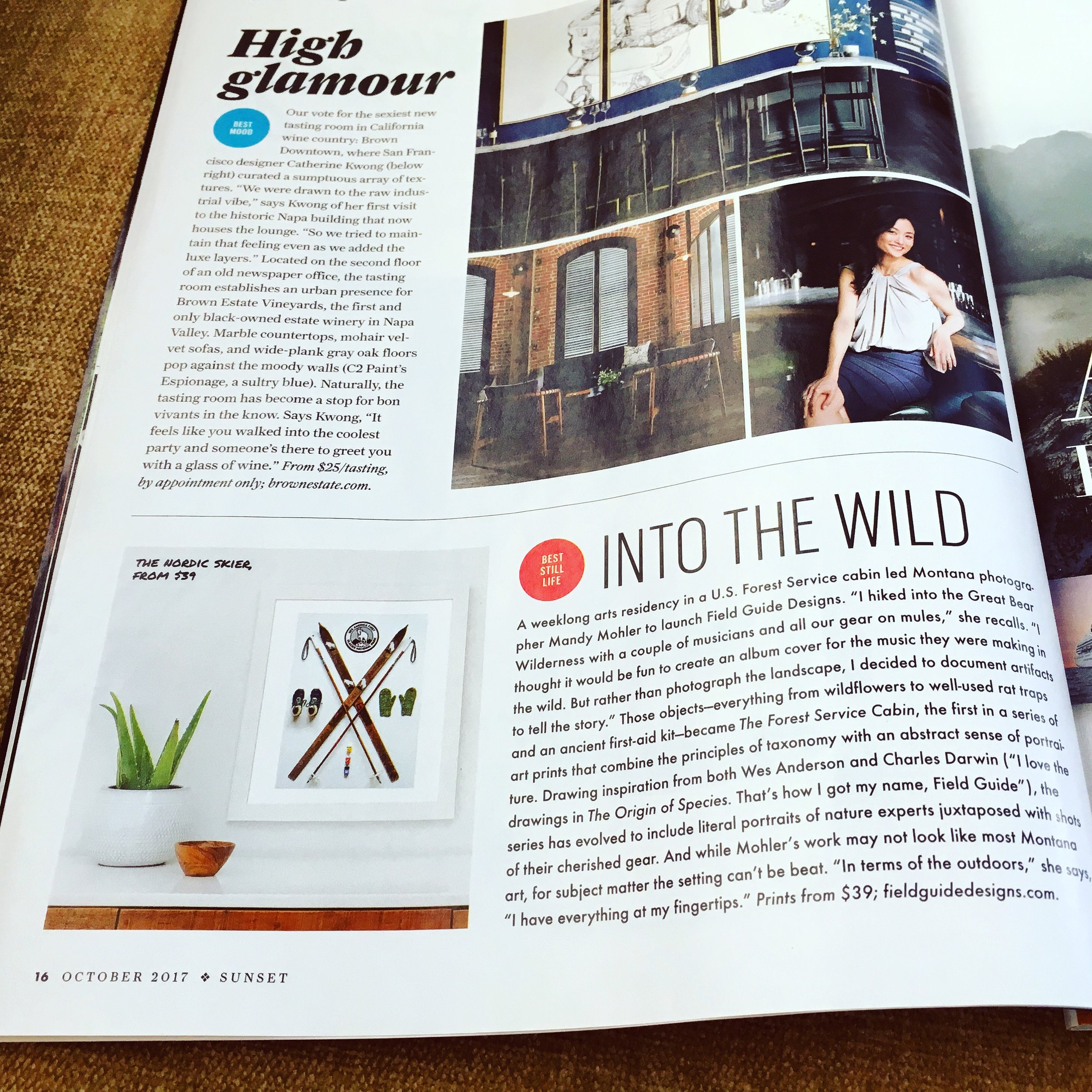 Sunset Magazine October 2017 Into The Wild : Field Guide Designs