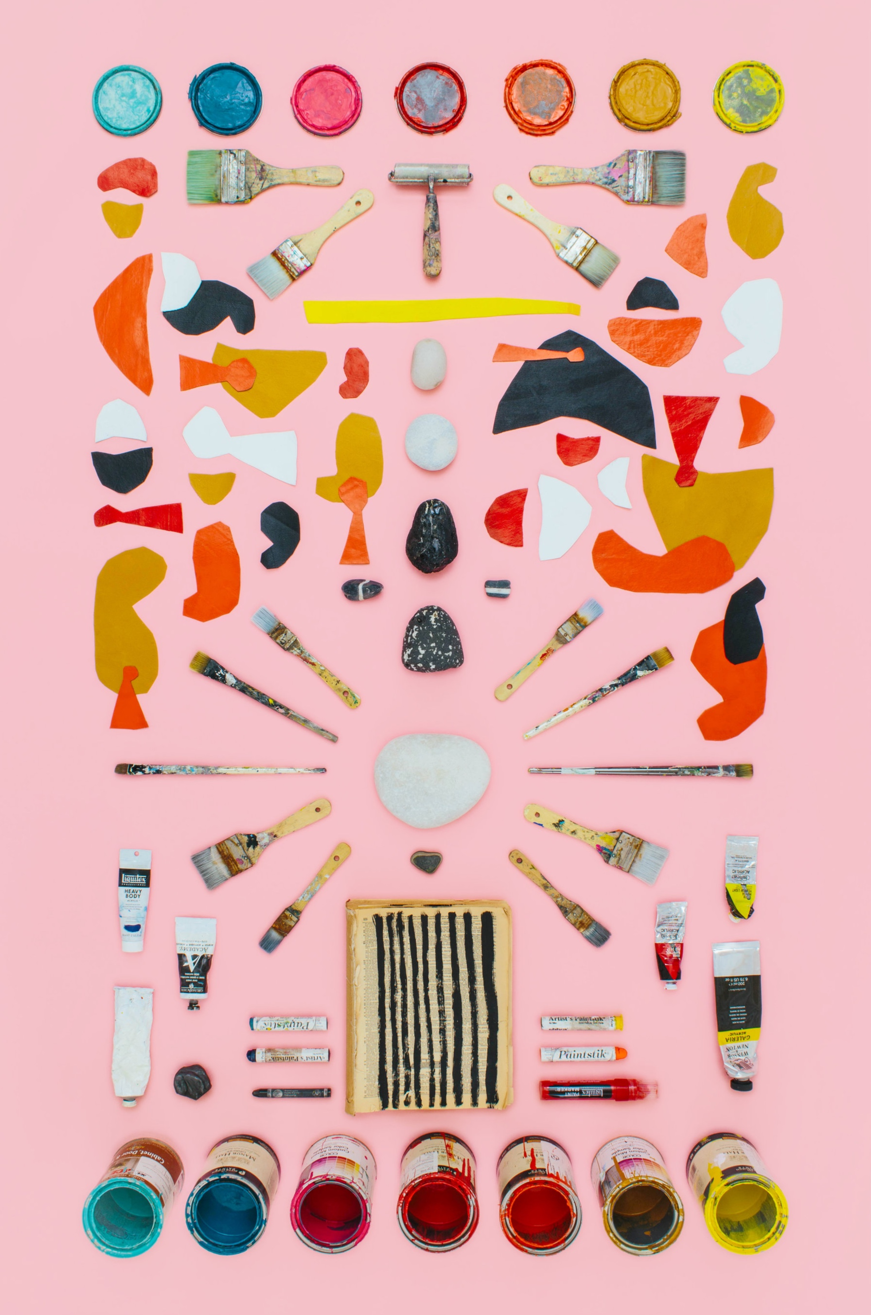THE ARTIST. A taxonomical art print of Olivia Stark's studio supplies by Mandy Mohler.