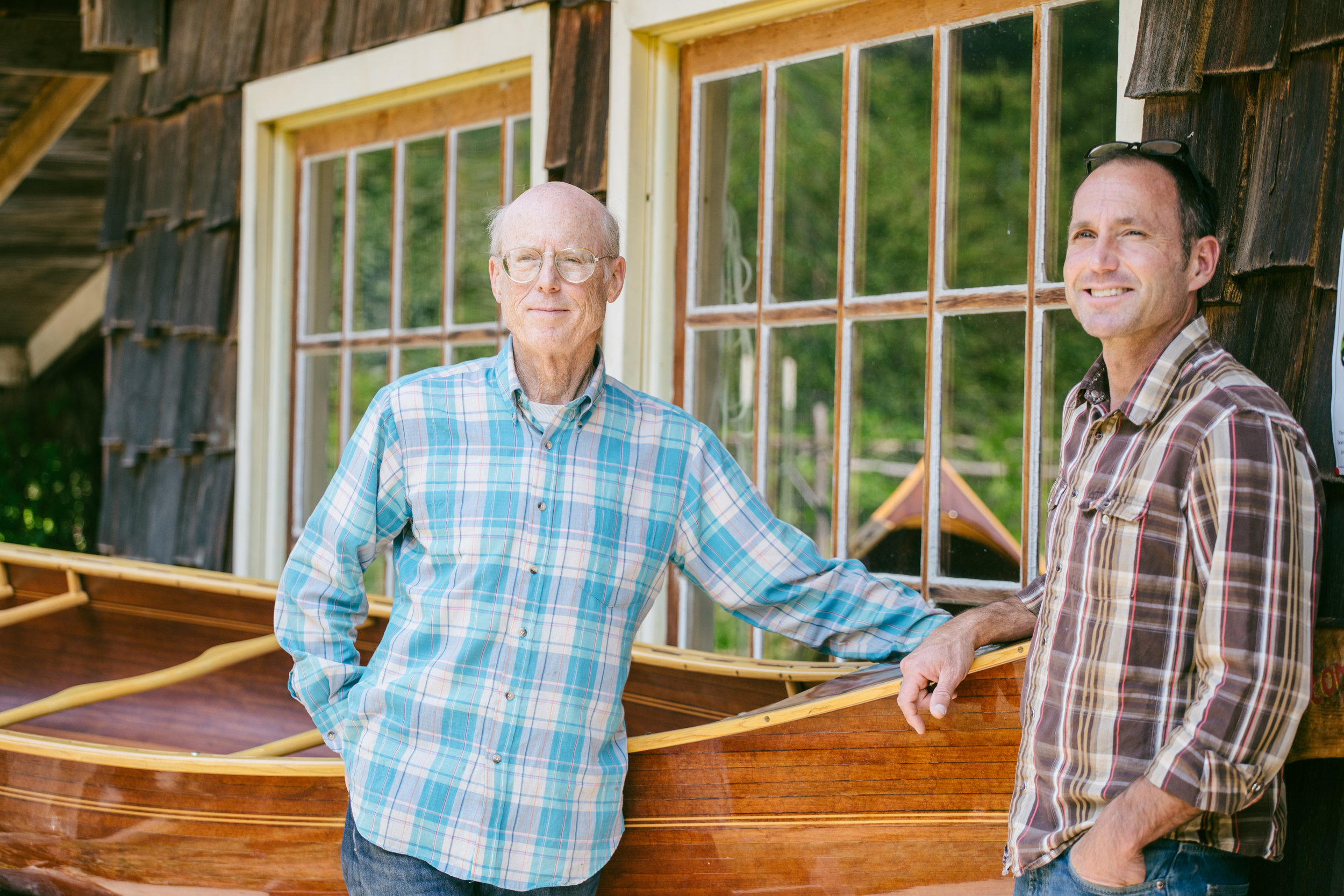 Greg and Steve Morley in front of their shop,  Morley Canoes .