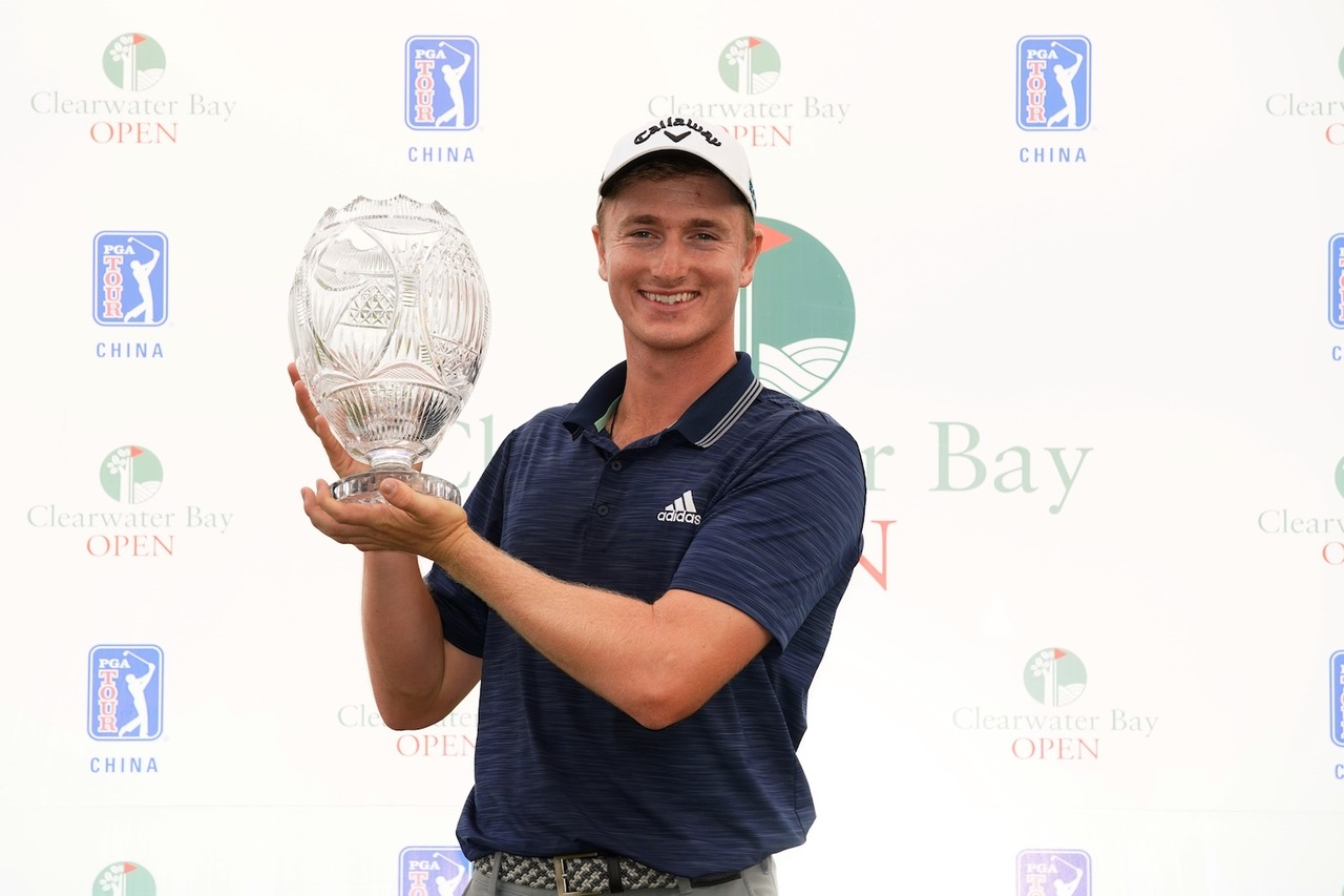 Auckland golfer Nick Voke with the Clearwater Bay Championship trophy which was his third win in just five weeks on the PGA Tour China PHOTO PGA TOUR Series China Zhuang Liu