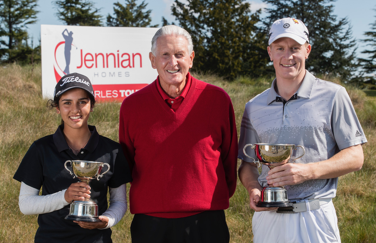 New Zealand golf legend Bob Charles poses with Tara Raj and James Anstiss following their wins in the Harewood Open in Christchurch