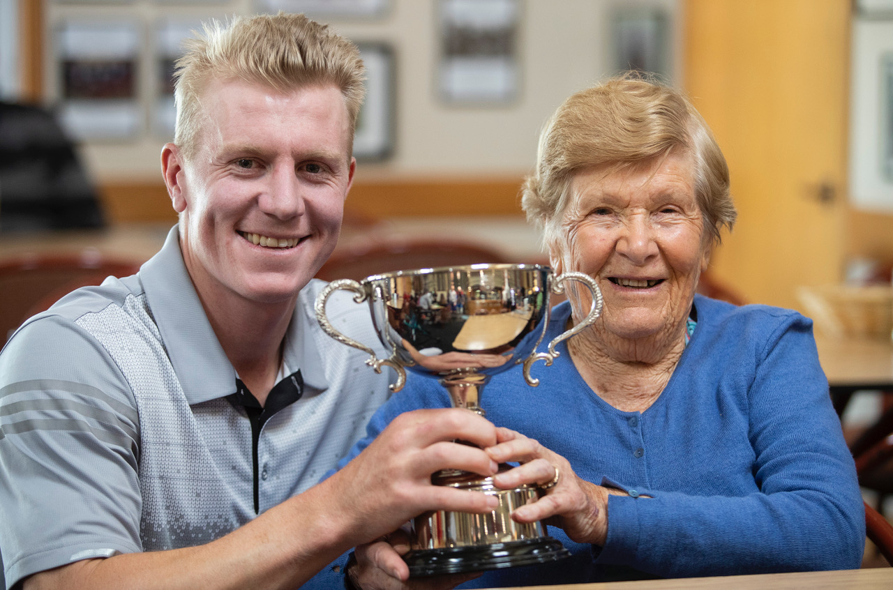 James Anstiss poses with his grandmonther after winning the Harewood Open in Christchurch