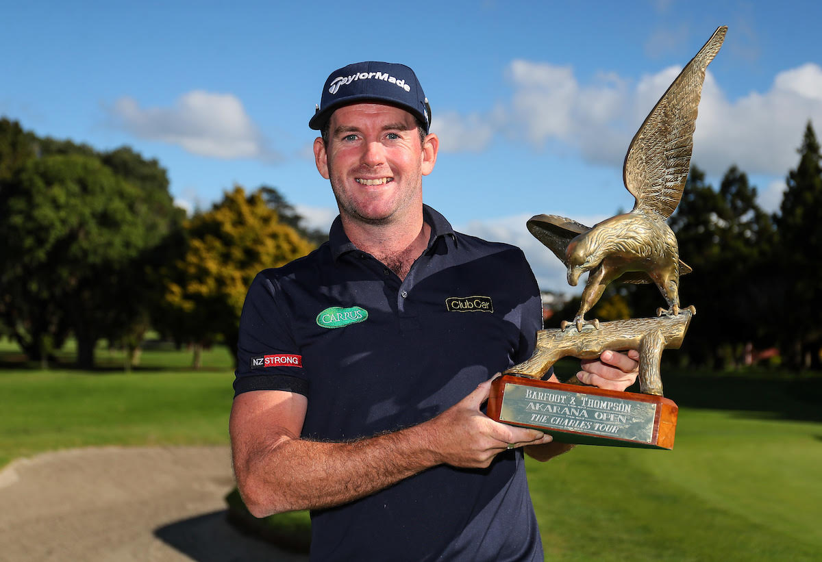 Josh Geary with the trophy following his second win in the Akarana Open in Auckland. He previously won the same tournament in 2014.