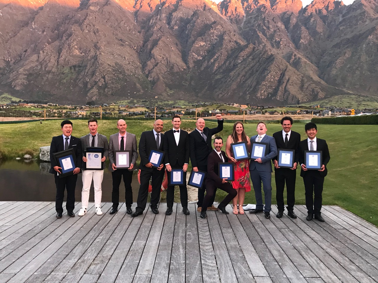The graduating trainees for 2018 at Jacks Point in Queenstown. All now have full membership and are working in the golf industry.
