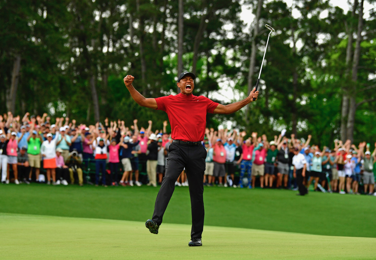 The moment of victory for Tiger Woods at the US Masters. It had been 11 years since Woods last won one of golf's four majors.