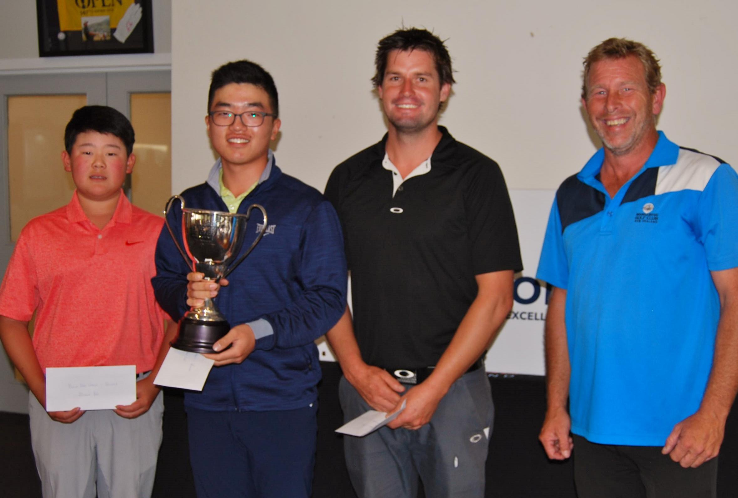 Winning group (from left): Joshua Bai (2nd), Jang Hyun Lee (winner of Tom Bonnington Cup), Scott Wightman (3rd), Men's Club Captain Barry Brennan