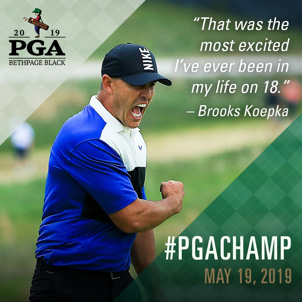 The delight is obvious as Brooks Koepka seals victory for his second consecutive win in the $US11 million PGA Championship in New York. Photo credit: PGA of America.