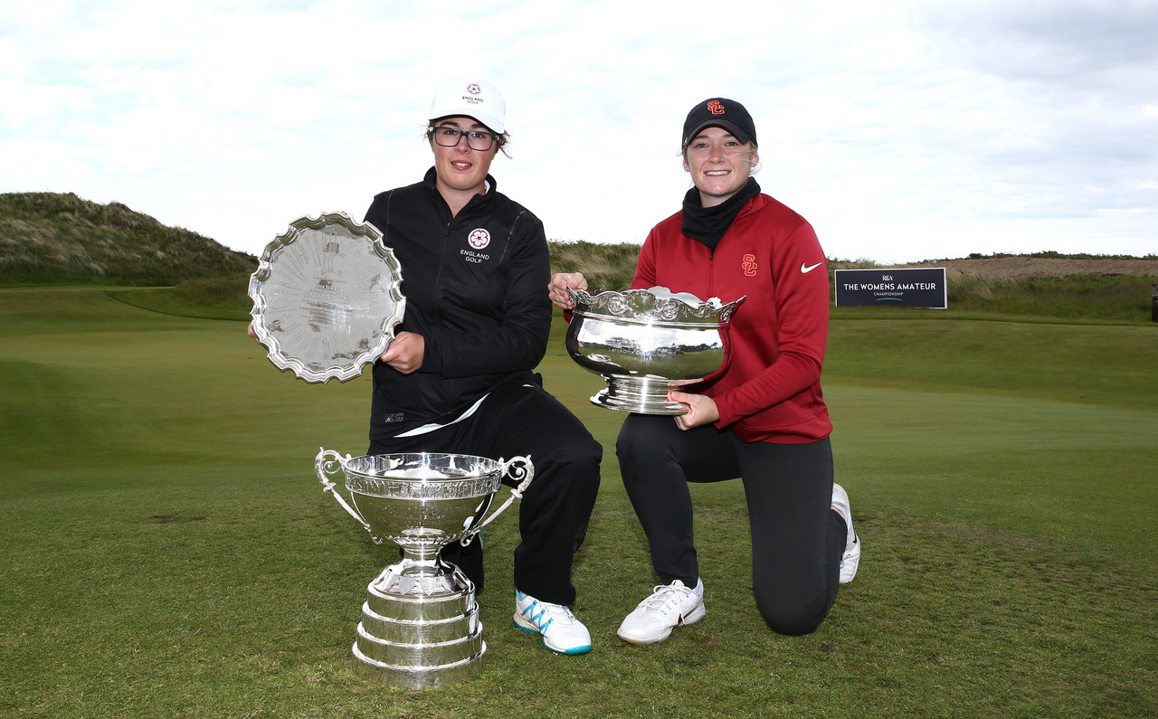 Emily Toy (left) and New Zealand's Amelia Garvey with their trophies after finishing first and second in the Women's Amateur in Northern Ireland last month. (Photo credit R&A)