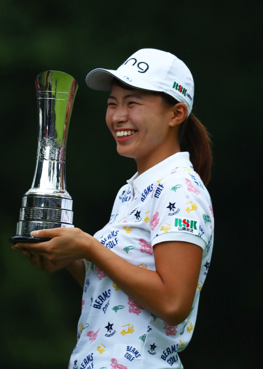 Hinako Shibuno is all smiles after winning the Women's British Open in England. Photo credit: The R&A