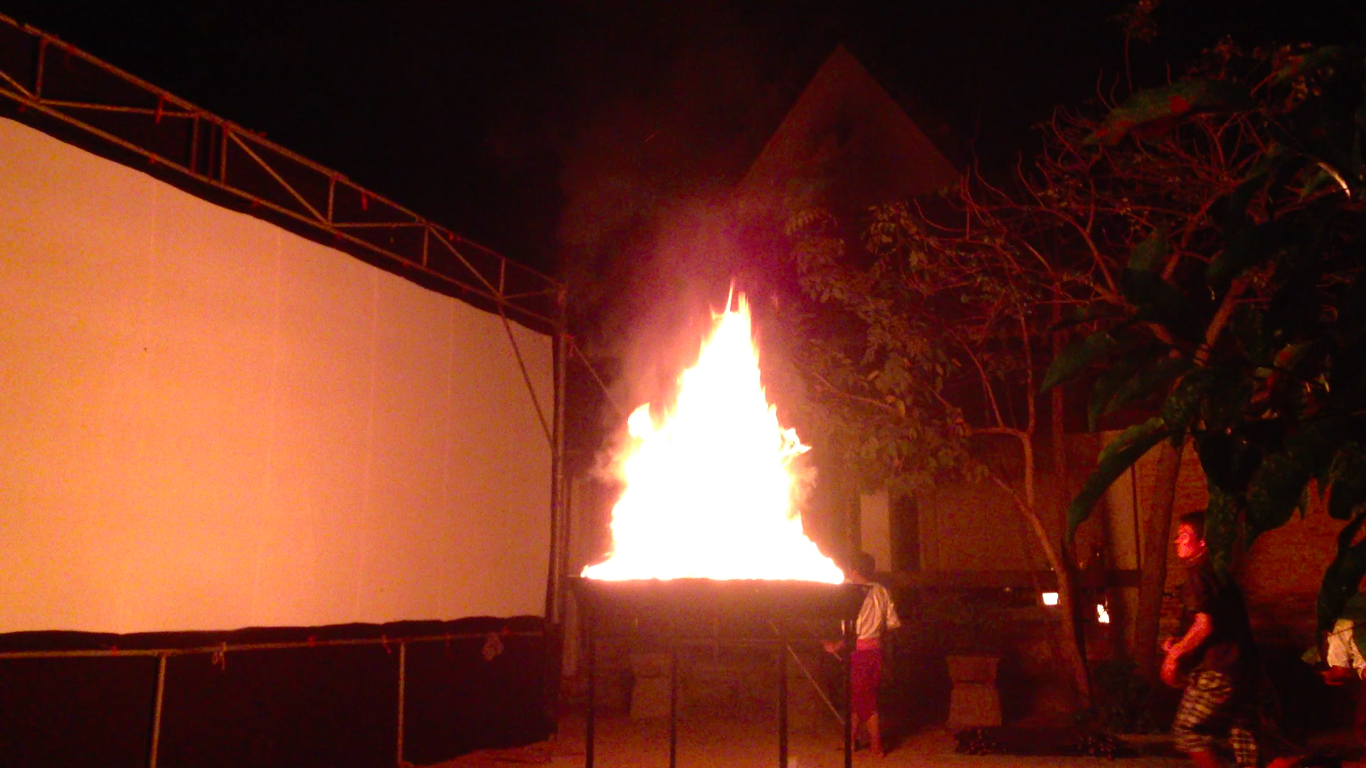 Another shot of the fire on its platform. Lighting the fire is an important, and even sacred, part of the event.