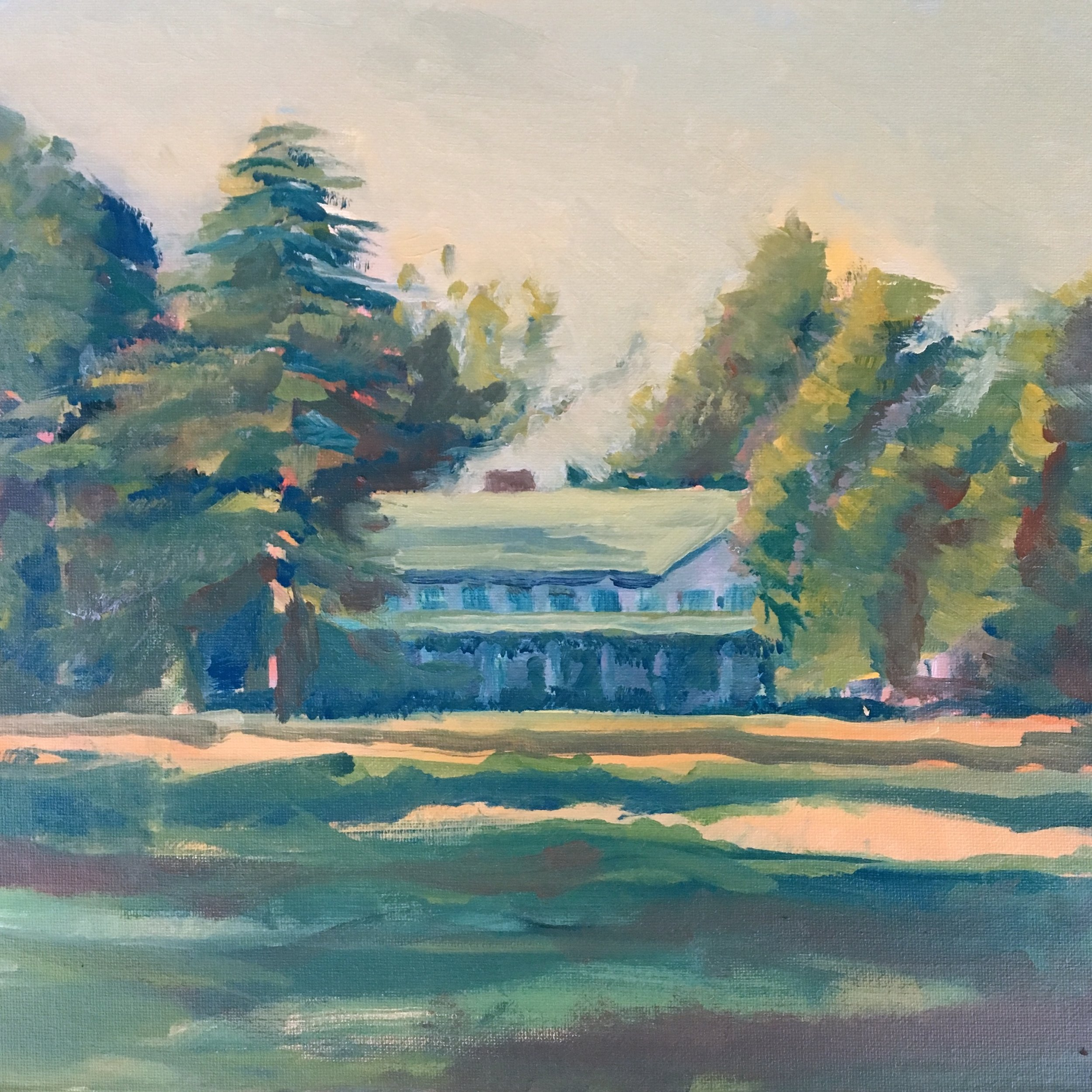 "Reynolda House Museum of American Art 12""x12"" Oil on Canvas Board 7 September 2019"