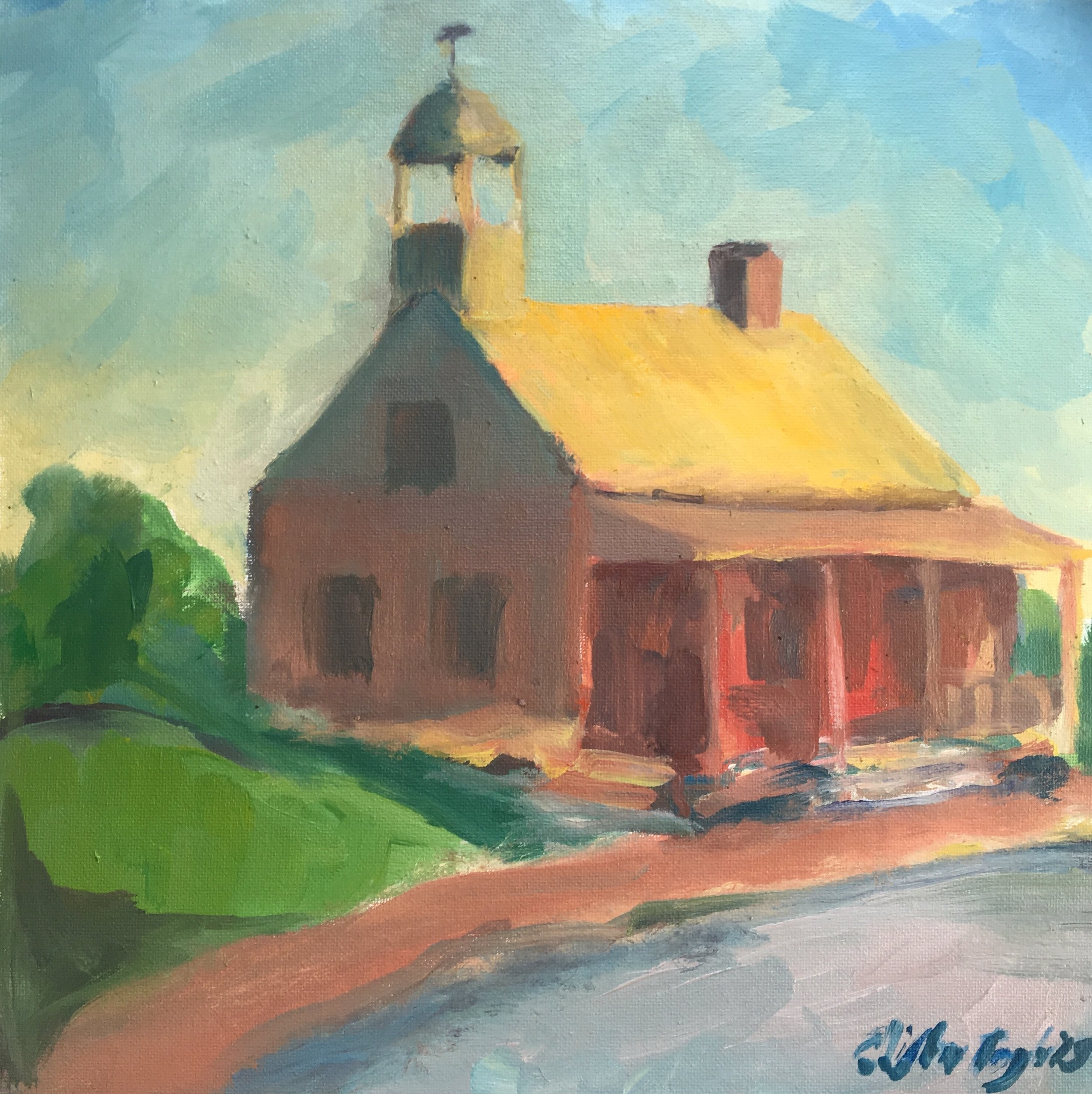 "St. Philips Church, Old Salem NC. 12""x12"" Oil on Canvas Board 30 August 2019"