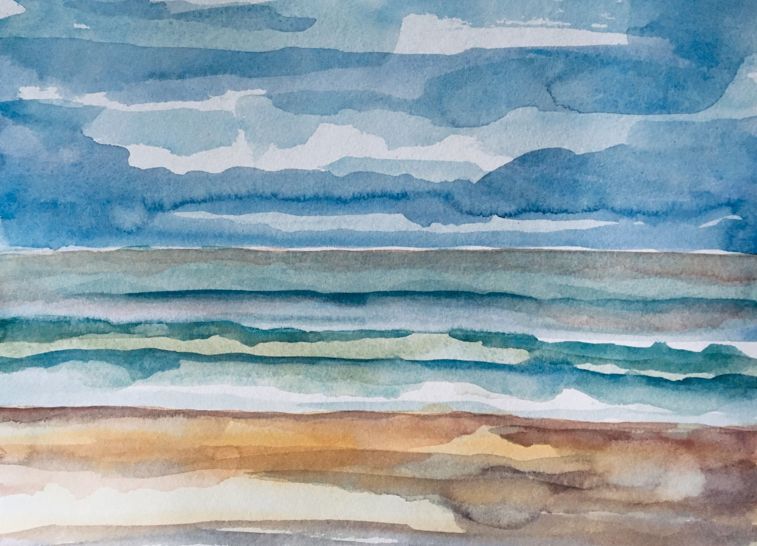 "Beach Water Sky - Emerald Isle, NC before Dorian. 11"" x 15"" Watercolor on Paper 1 September 2019"