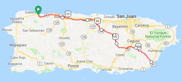 Our route across Puerto Rico, starting September 7, 2019.