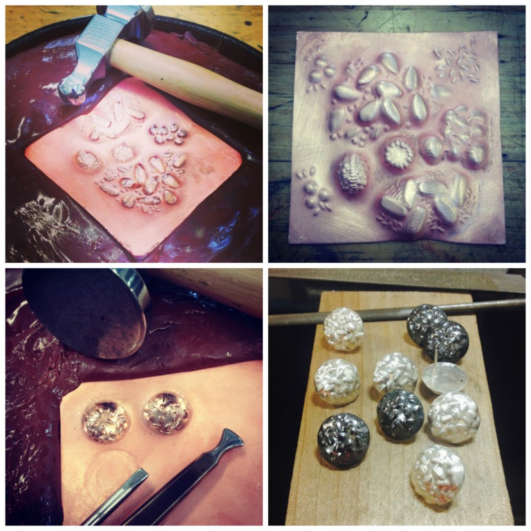 Progress shots from the  Nancy Megan Corwin  Repousse workshop as well as some Repousse earrings that I displayed at the  Zu Design  Christmas Show.