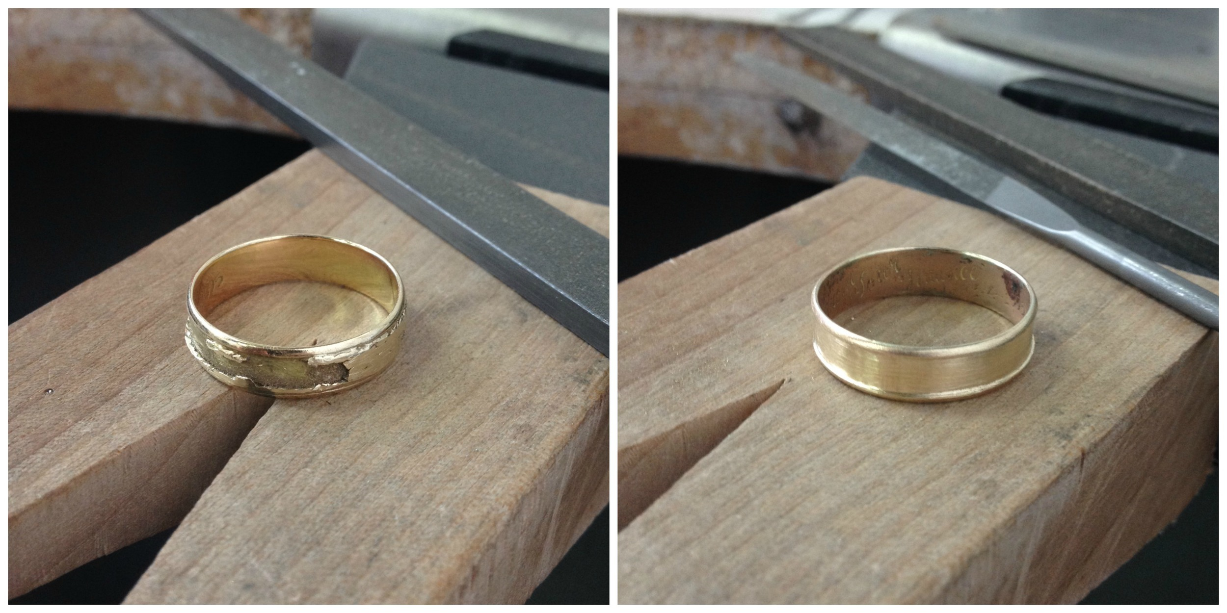 The bits that were soldered down needed to be completely filed away, leaving the very thin engraved ring underneath