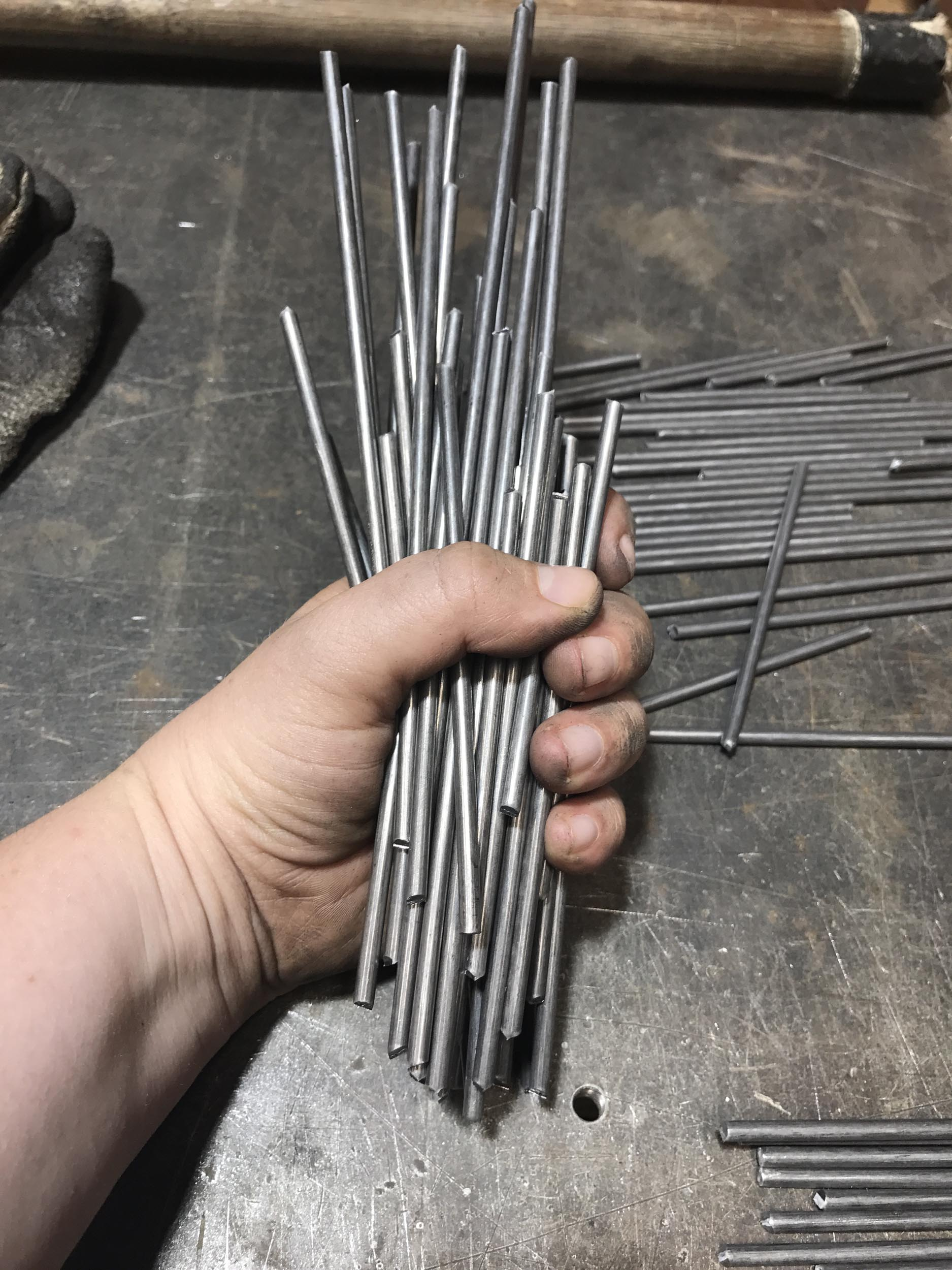 Many sticks to cut = very dirty hands.