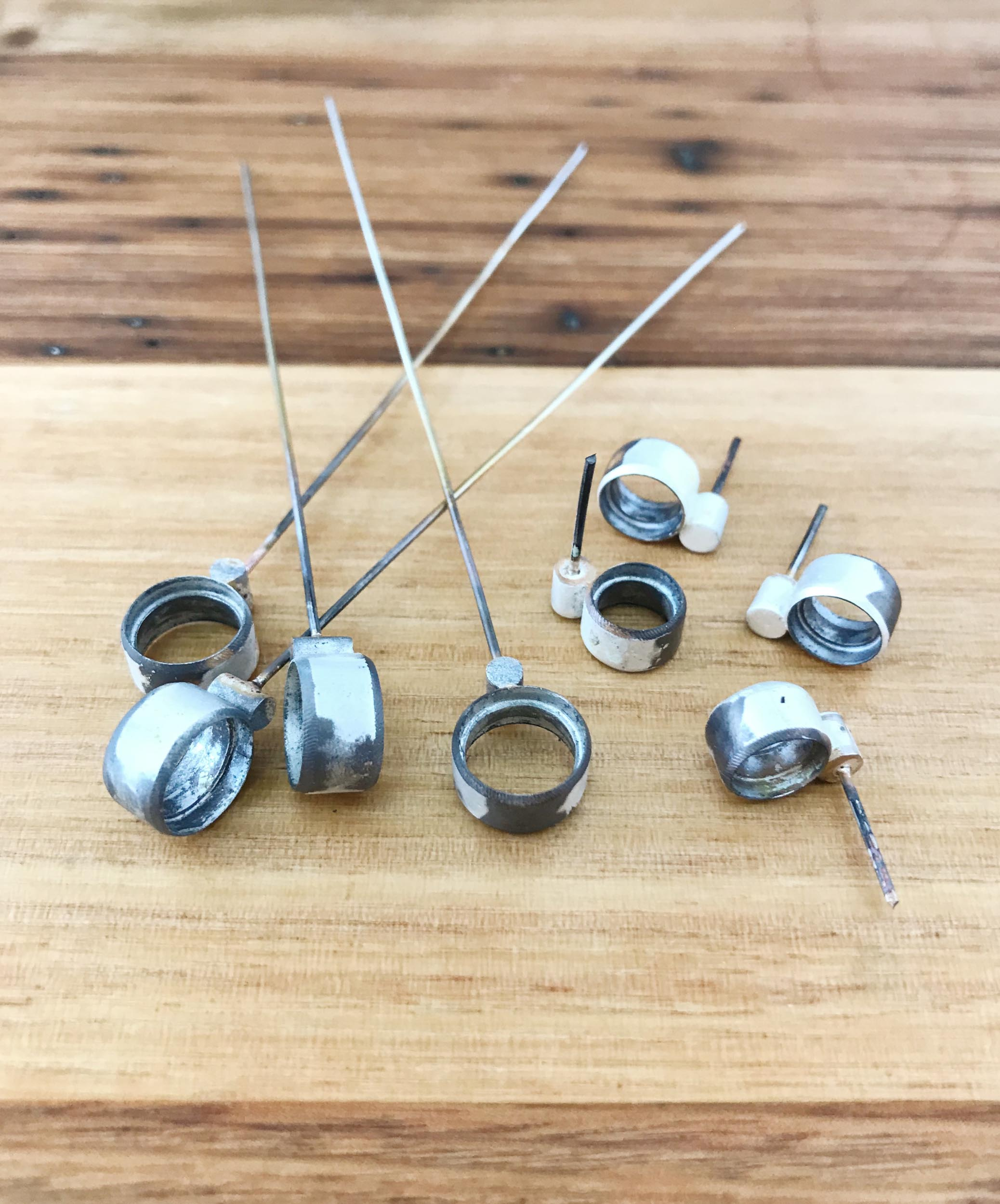 Microscope Earrings just after soldering. These little guys will be ready for postage next week.