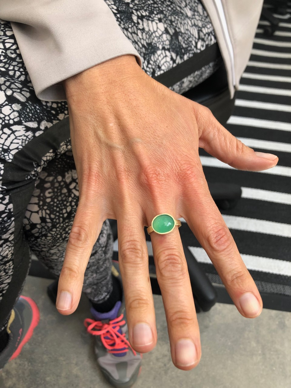 Vesna's gorgeous chrysoprase and brass ring all ready for setting.