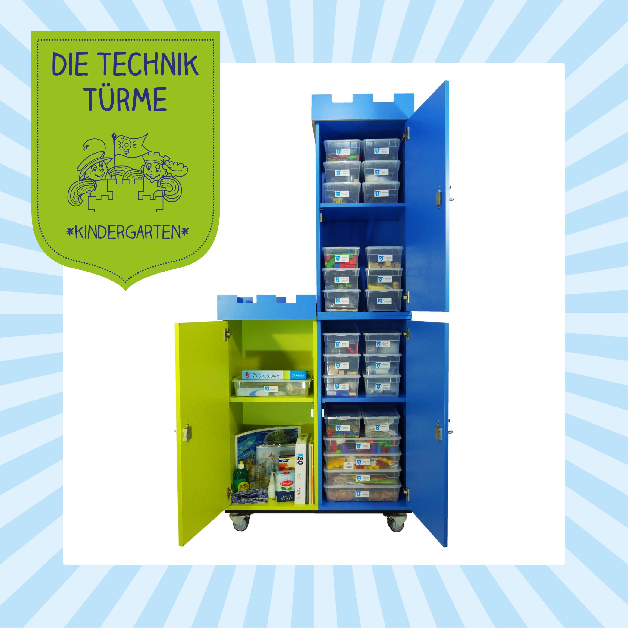 Materialwagen mit Experimentierkästen und Technik-Baukästen für Kindergarten und Vorschule von Technik Türme bestellen.