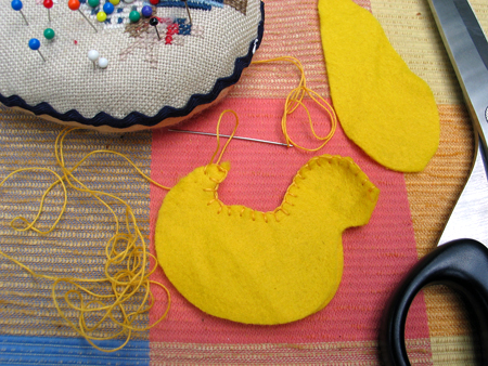 Step2.  Blanketstitch the two sides together from the top of the beak * to the tail *.