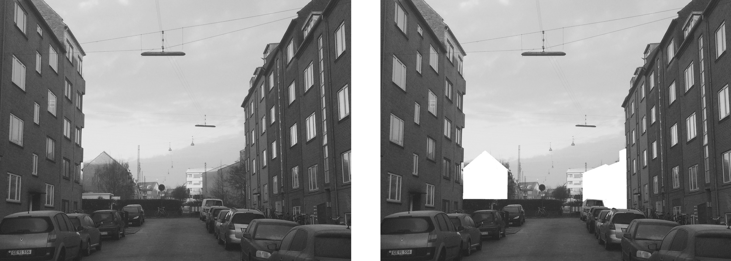 The edge of classical Aarhus. Over the road the buildings are alligned to optimise light in-fall. The result is a set of gable walls exposed to view.