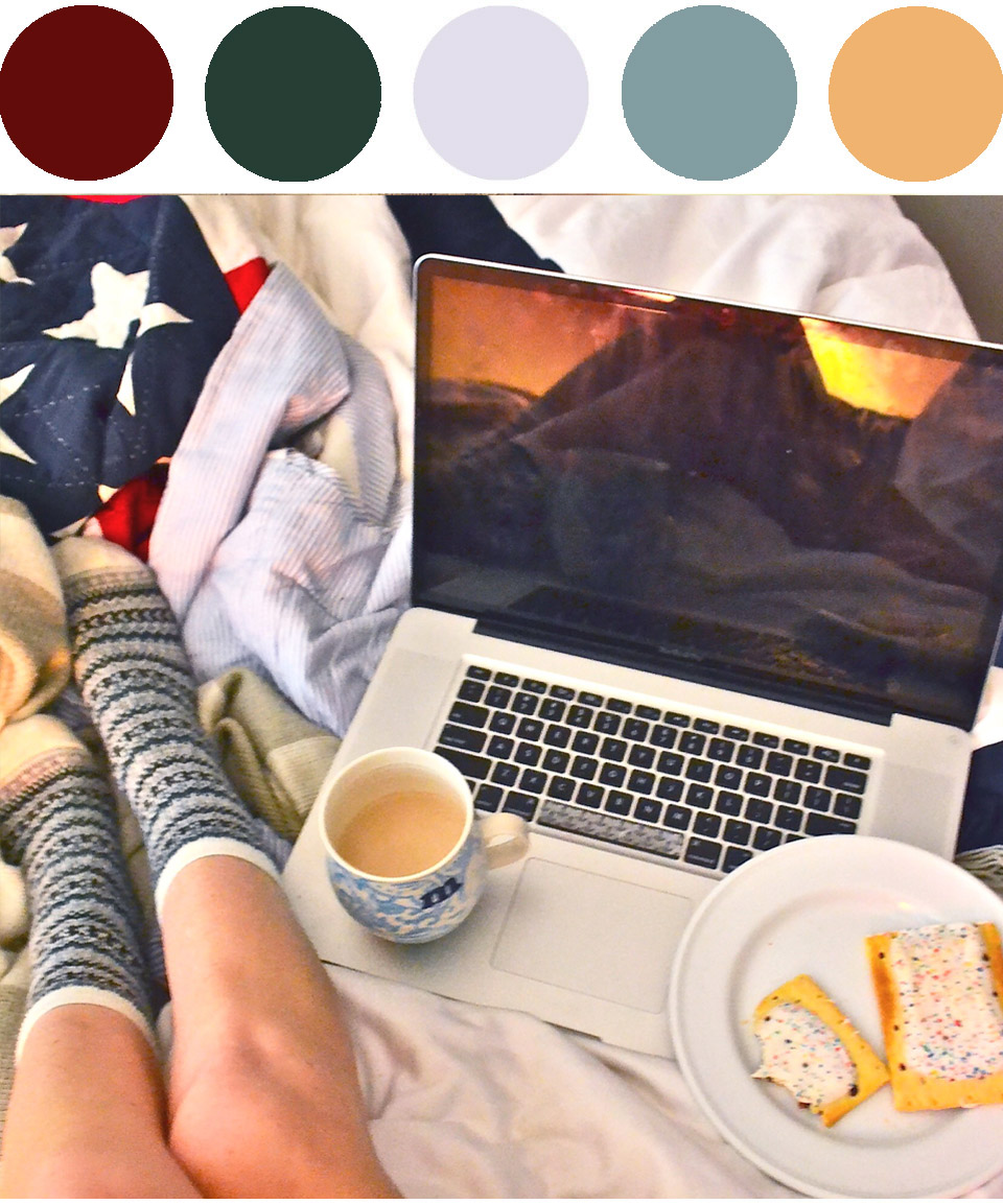 Socks:   J. Crew Trouser Socks   - Mug:   Anthropologie Homegrown Monogram Mug   - Blanket:  Tommy Hilfiger American Flag Quilt  ( similar ) - Breakfast:  Pop Tarts  (blueberry, of course)
