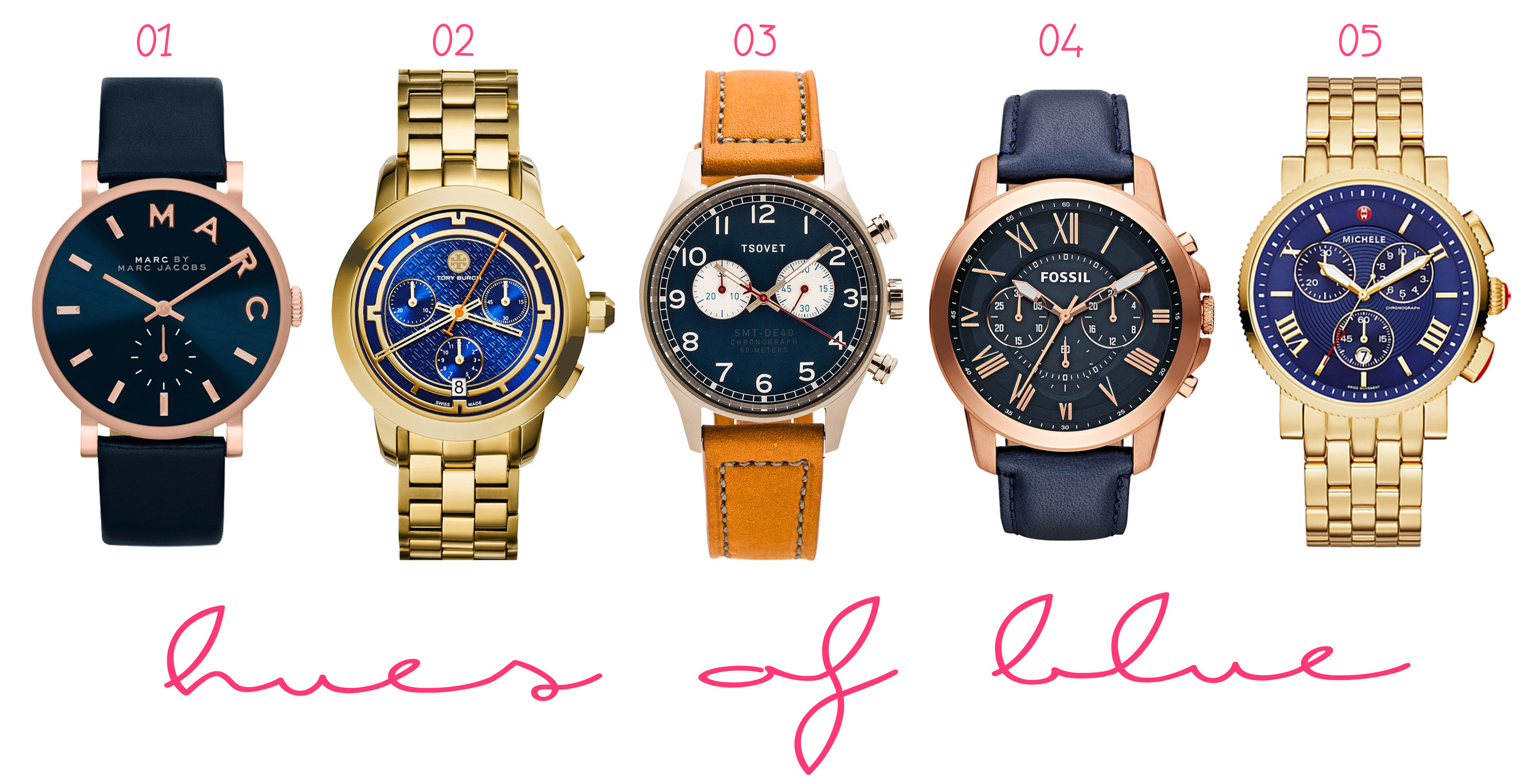 01.  MARC BY MARC JACOBS 'Baker' Leather Strap Watch  ($175) - 02.  Tory Burch 'Tory' Chronograph Bracelet Watch  ($895) - 03.  TSOVET SVT-DE40  ($450) - 04.  Fossil 'Grant' Round Chronograph Leather Strap Watch  ($135) - 05.  MICHELE 'Sport Sail - Large' Chronograph Watch Case  ($845)