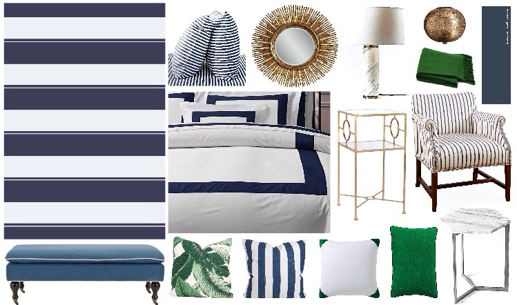 accent wall  -  pillow bench  -  duvet cover  - pillows ( palm ,  stripes ,  caps ,  lumbar ) -  marble side table  -  chair  -  gold side table  -  wall color  -  cashmere throw  -  gold lamp  -  marble lamp  -  mirror  -  sheets