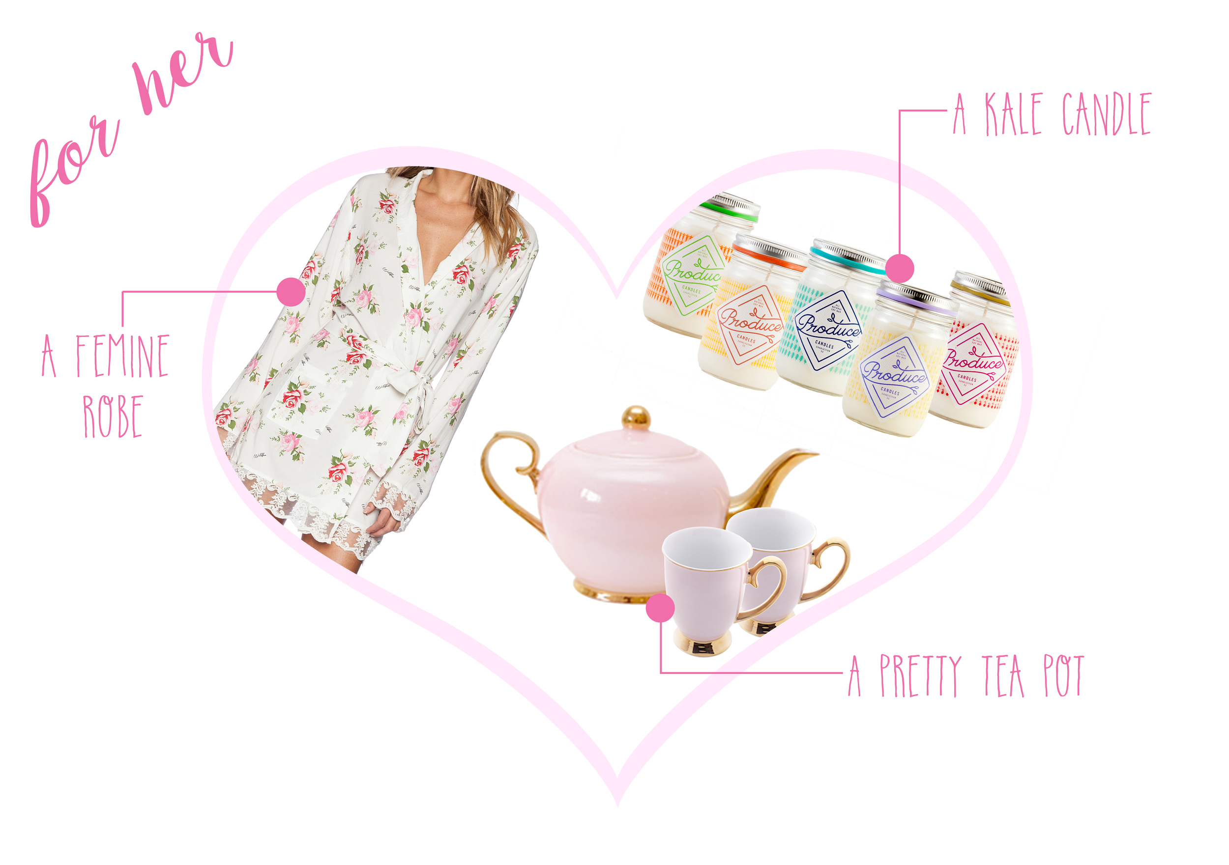 Wildfox Lace Robe  ($138) -  High Tea Pot   & Teacups  ($50 & $15) -  Produce Candles  ($20)