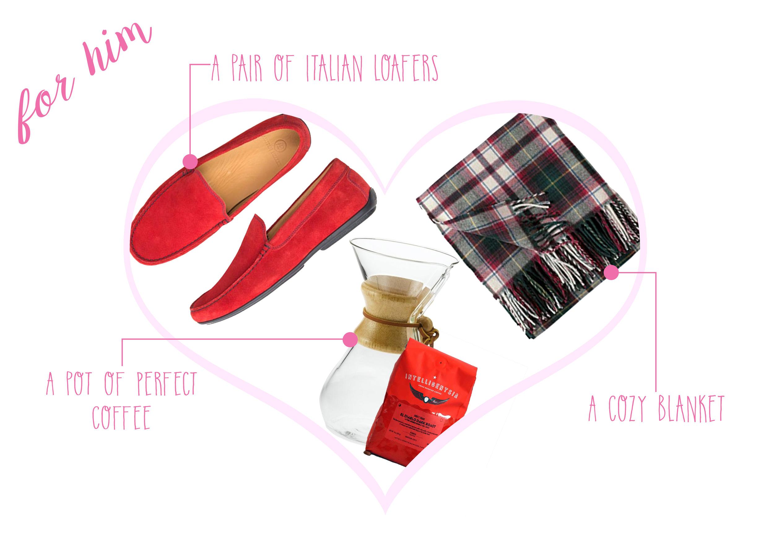 Austen Heller loafers  ($195) -  Chemex Glass Coffee Maker  ($35) -  Pendleton Merino Throw  ($129)