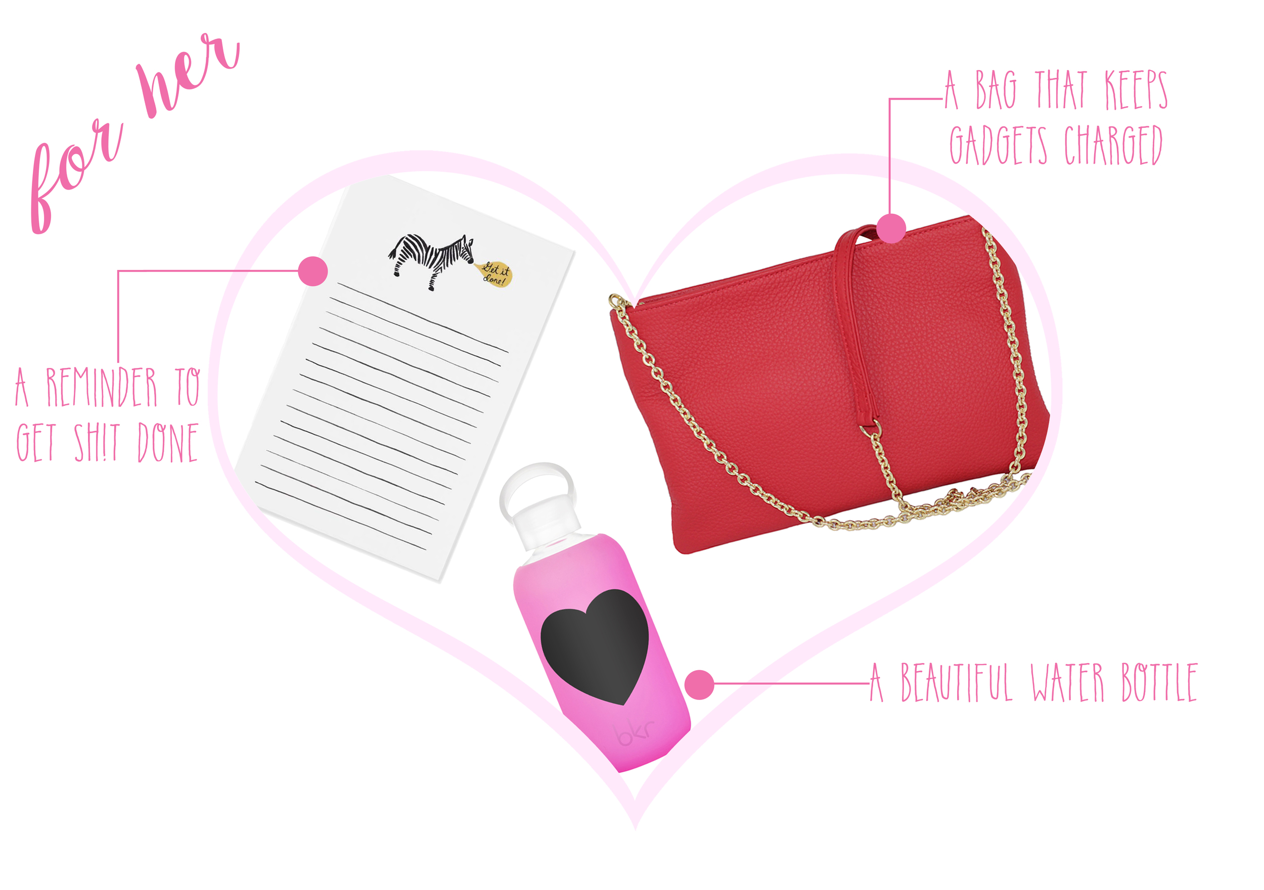 Get it Done notepad  ($8) -  Bkr Bambi Heart Bottle  ($35) -  Empowered all-in-one Bag  ($175)