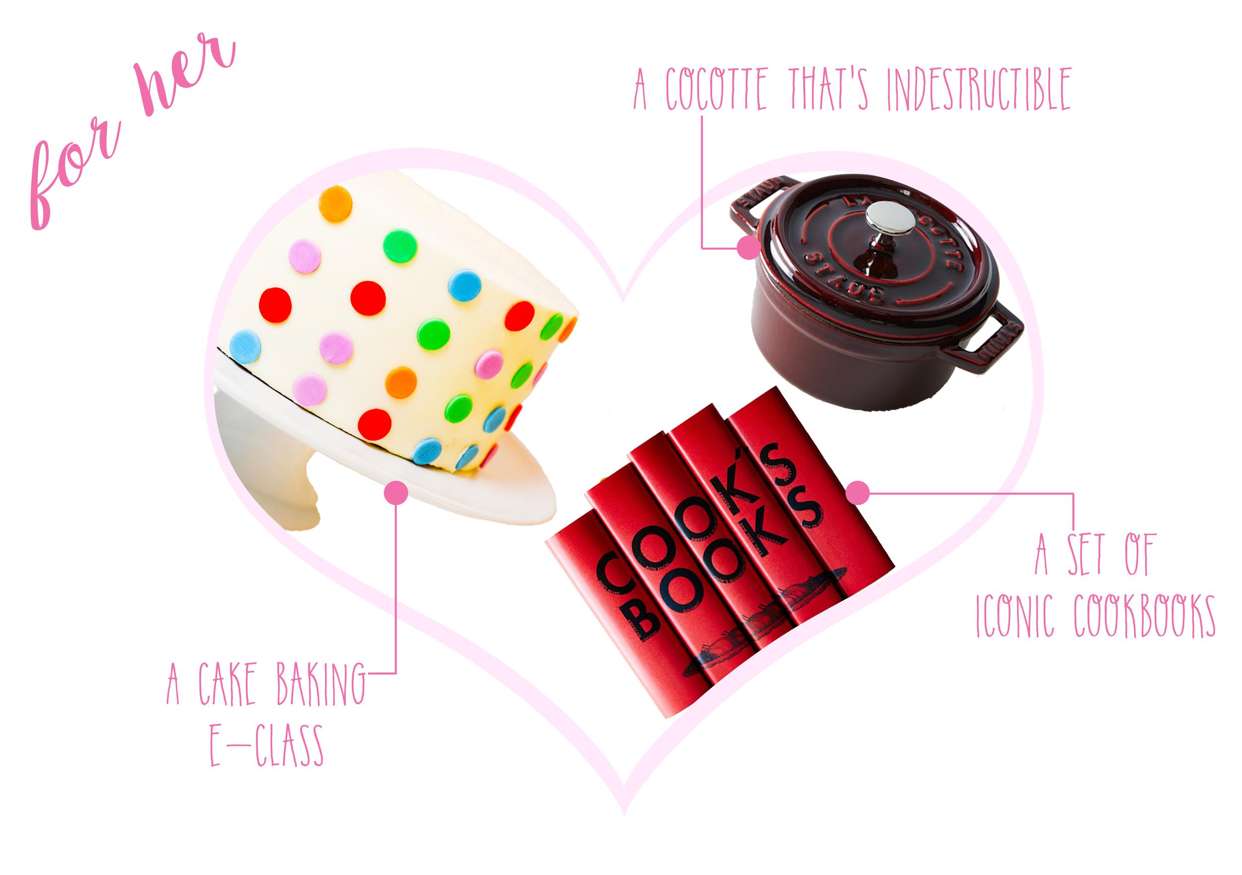 Cake Baking e-Class  &  Baking Kit  ($20 & $95) -  Iconic Cook Book set  ($295) -  Staub Mini Cocotte  ($185)