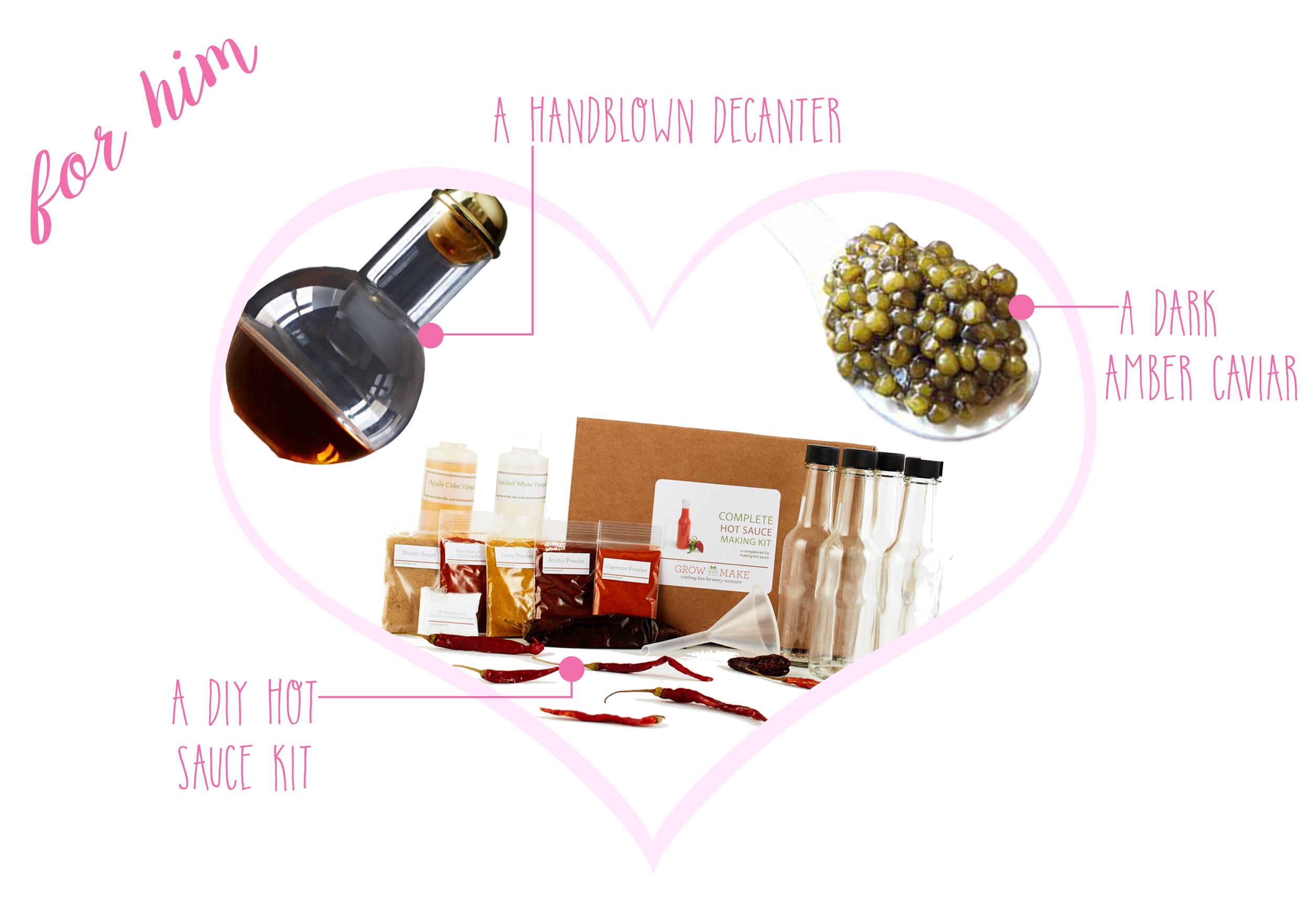 Handblown Decanter  ($225) -  DIY Deluxe Hot Sauce Kit  ($35) -  Osetra Gueldenstaedtii Caviar  ($200 / 50g)