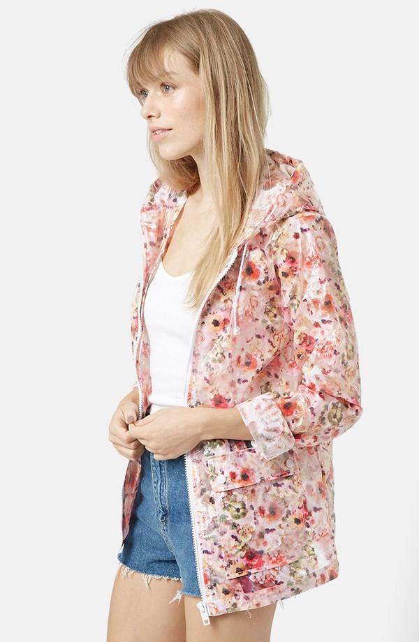 Topshop | Floral Hooded Raincoat