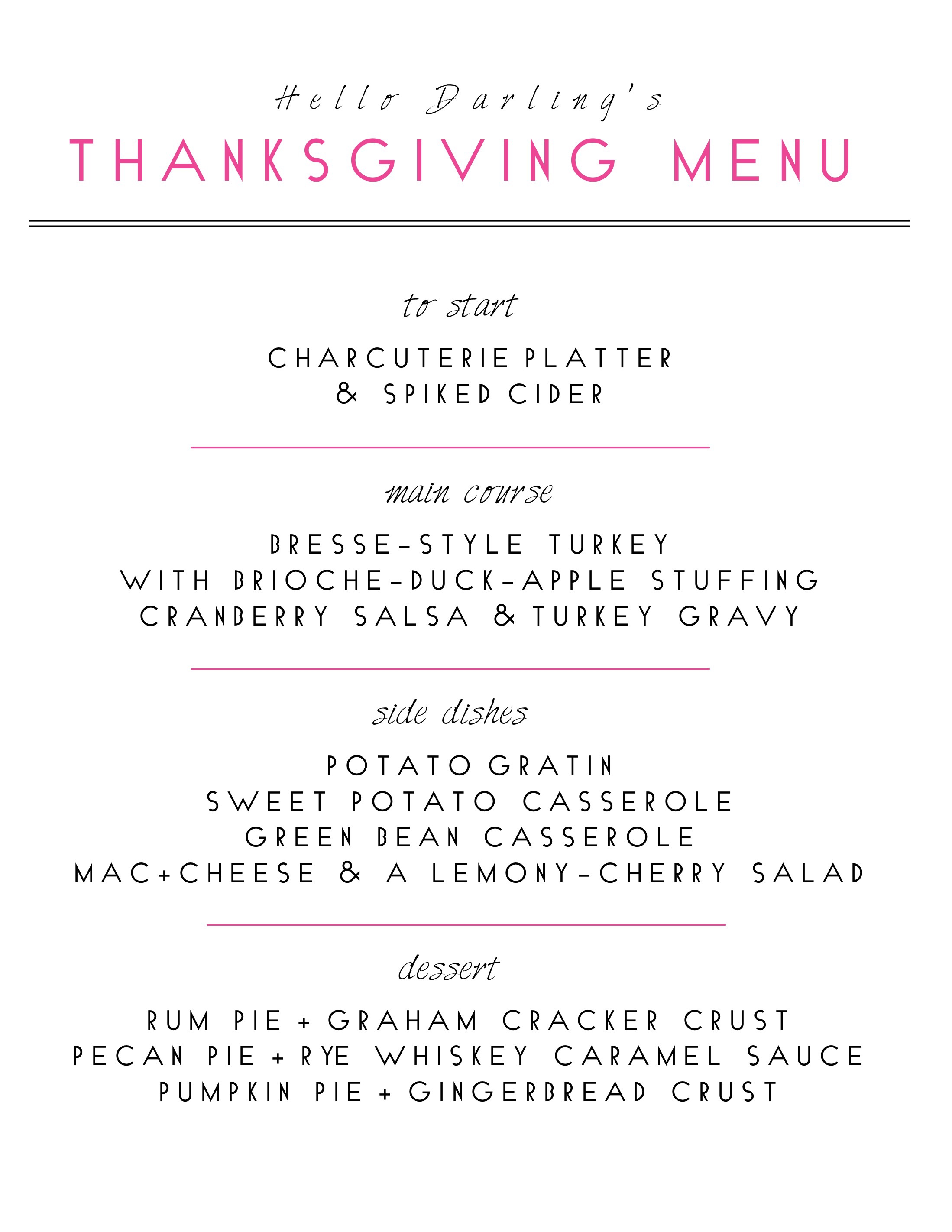 R E C I P E S :  Bresse-Style Turkey  |  Brioche Stuffing  |  Potato Gratin  |  Sweet Potato Casserole  |  Green Bean Casserole  |  Lemony-Cherry Salad  |  Rum Pie  |  Pecan Pie  |  Pumpkin Pie  .