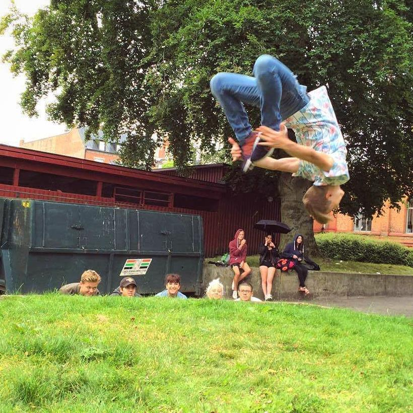 Ricky performing a backflip at Katedralskolan