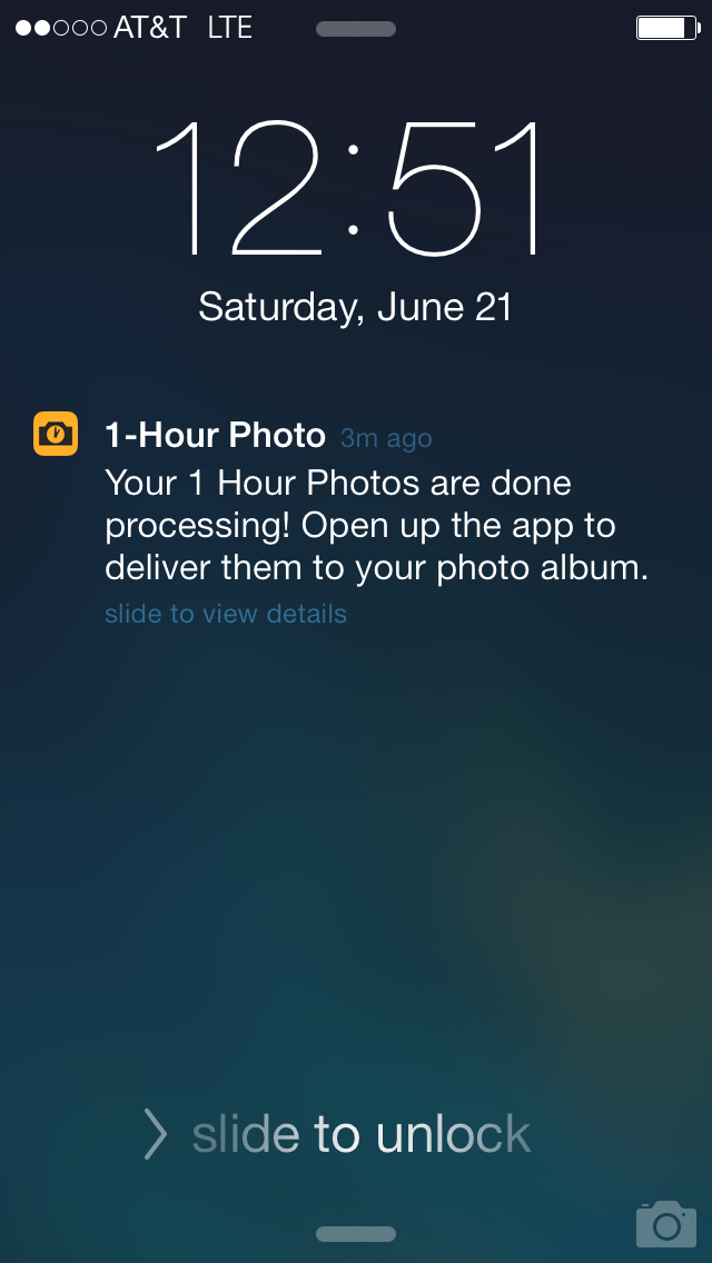 You'll get a notification when your photographs are ready.