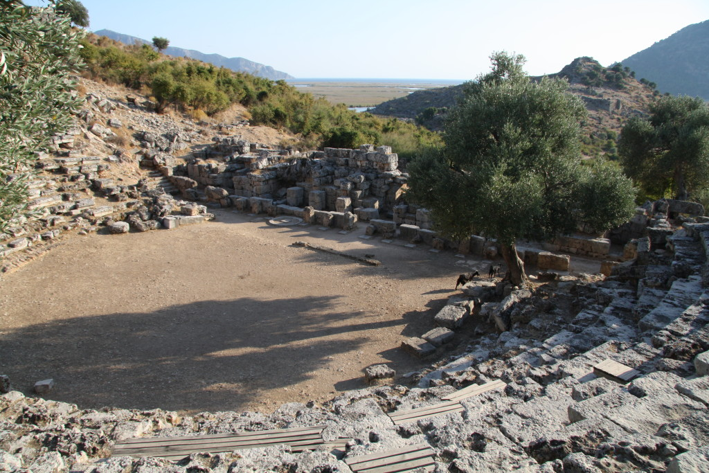 The amphitheater of Kaunos, at Dalyan. With some goats.
