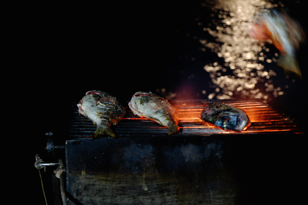 Grilling fish on the boat. In the moonlight.