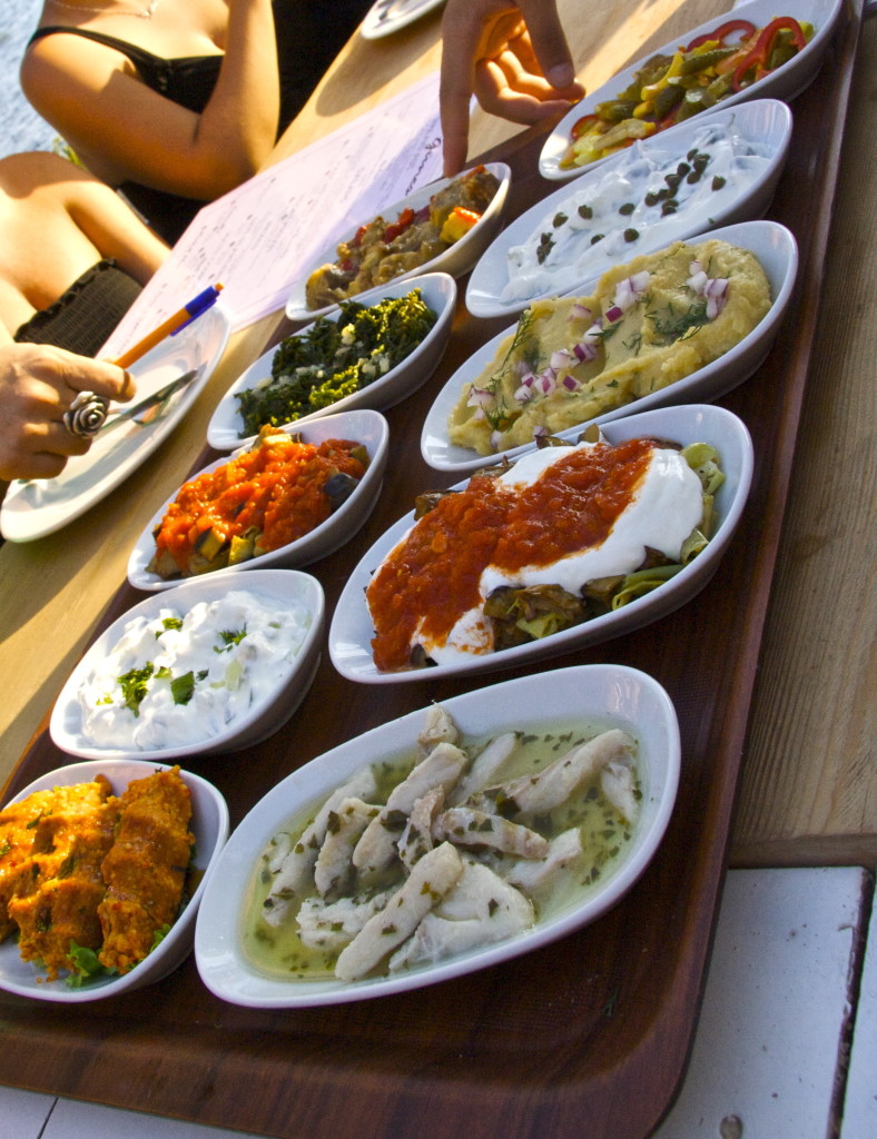 A Turkish meze tray. *This was in a restaurant, not on a boat. Still, it was delicious.