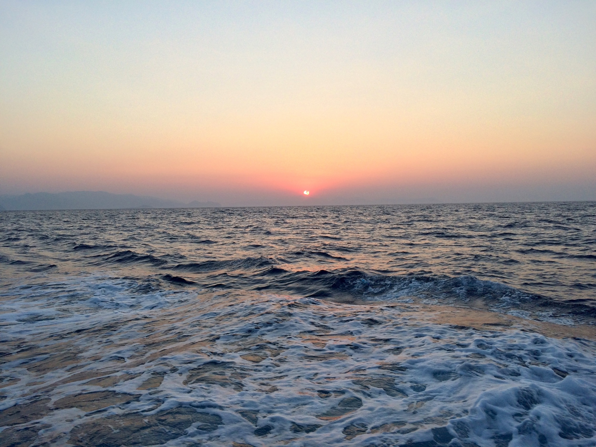 The sun was rising as we left the Turkish coast