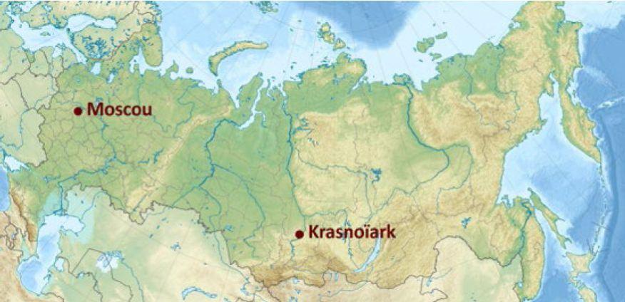 Krasnoïarsk (en russe : Красноярск) est situé dans le sud de la Sibérie occidentale, c'est une étape importante sur le trajet du Transsibérien.  Elle est la troisième ville de Sibérie et compte                                                                           environ 1 million d'habitants.