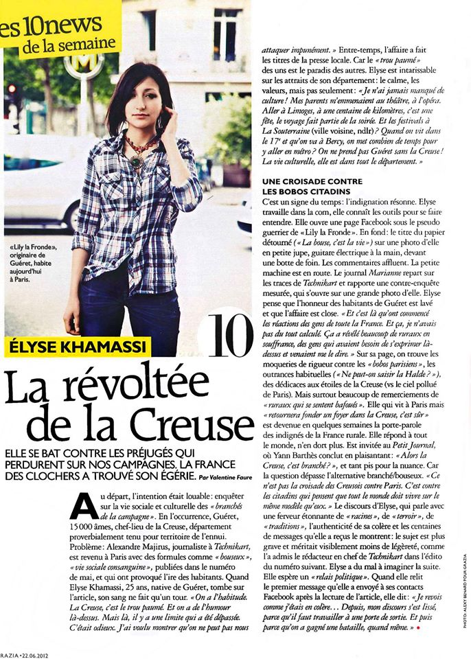 La révoltée de la Creuse  , par Valentine Faure . Publié dans le magazine  Grazia  , en juin 2012. -Photo : Alexy Benard.